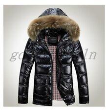 Winter Mens Warm Shiny Down coat fur collar hoody Parka jacket outwear PLUS SIZE