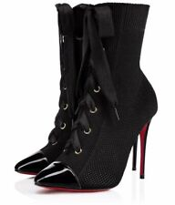 Christian Louboutin Frenchie 100 Black Patent Lace Up Heel Ankle Boot Bootie 39