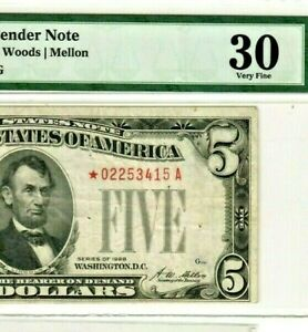"$5 ""STAR""STAR""(1928 )""RED SEAL STAR"" $5 ""STAR""STAR""(1928) GRADED V/F/30 NICE!!!!"