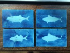 Nautical Original Fish Wall Hangings Pictures Set of 4 Wood Signs