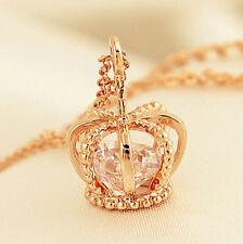 Women Golden Plated Rhinestone Crown Cross Pendant Necklace Jewelry