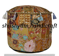 """22"""" Home Decorative Round Pouf Cover Indian Multi Patchwork Red Ottoman Throw"""