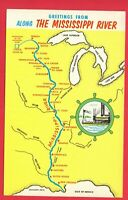 GREETINGS FROM ALONG THE MISSISSIPPI RIVER  MAP  LARGE LETTER   POSTCARD