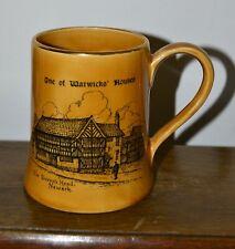 More details for vintage sandland ware 'one of warwicks houses' pottery tankard mug 10cm high