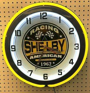 "18"" Yellow SHELBY RACING Double Neon Carbon Fiber Like Clock Mustang Cobra"