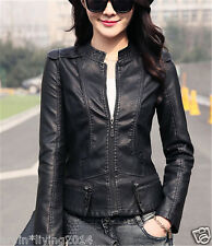 Womens jackets spring autumn Leather coat short Biker Jacket Size 6 8 10 12 14