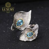 Natural Swiss Blue Topaz 925 Sterling Silver Calla lily Leaf Adjustable Rings