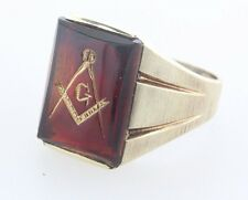 10K Yellow Gold Ruby Red Spinel Masonic Freemason Mason Men's Ring - Size 9.5