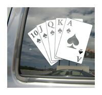 Poker Royal Flush - Luck Casino Card Game - Car Window Vinyl Decal Sticker 04057