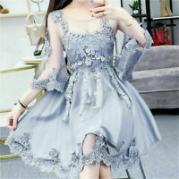 Ladies Womens Lolita Lace Flower Dress Sheer Tulle Princess Dolly Skirts Kawaii