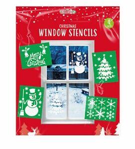 4 x Large CHRISTMAS WINDOW STENCILS A4 Xmas Tree Snowflake Snowman Snow