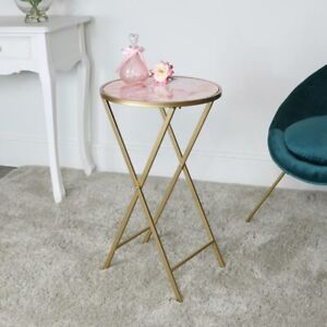 Gold & Pink Marble Side Table bedside accent table end table