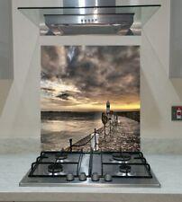 Splashback Toughened Glass Unique Panel Kitchen Lighthouse Sea Sunset Any Sizes
