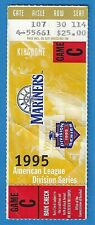 1995 ALDS Game 5 Ticket Mariners Yankees - Martinez Double Mattingly Final Game