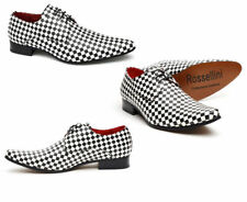 Men Vintage Retro White And Black Lace Up Pointed Smart Shoes (Chess)