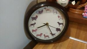 """Dog Sounds 8"""" Wall Clock,different dog bark every hour,works great,vg!"""