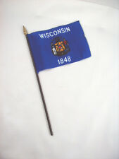 Wisconsin- State Mini Stick Flag- 4 inches by 5 1/2 inches- New!