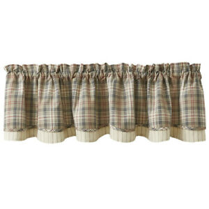 """1 Gentry Tan Grey Deep Red Plaid Country Cotton Lined Layered Valance 72"""" x 16"""""""