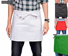 Black Short Waist Apron Various Colours Waiter Baker Chefs Short Apron Kitchen