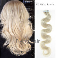 18'' #60 White Blonde Body Wavy Glue-Thick Tape In Human Remy Hair Extensions
