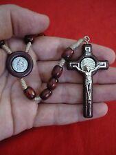 Mens Dark Brown European Wood Bead Saint Benedict Rosary Jesus Bethlehem Church