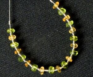 Peridot and Citrine Faceted Rondelle (3.5-4 mm diameter) 73-22