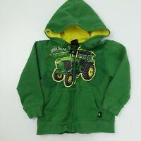 John Deere Tractors and Plows Zip Front Green Hooded Jacket Toddler Size 4