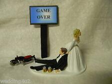 Wedding Cake Topper Motorcycle Hog Biker ~Game Over Sign~  Drunk Groom Beer Cans