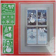 Merry Christmas Tree Snowflakes Snowman Window Snow Spray Stencils A4 4 Designs