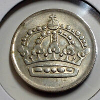 SWEDEN 1961 FIFTY ORE BETTER GRADE SILVER COIN