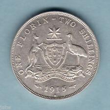 Australia.   1915-H Florin.. Full Centre Diamond..    gVF - Part Lustre