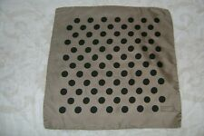 "New Macclesfield 100% silk pocket square 18"" hand rolled taupe polka dot spots"