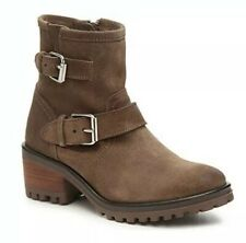 New Steve Madden Womens 6 Gain Motorcycle Suede Boots Bootie Taupe Light Brown