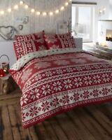 Eleanor James Stockholm Innsbruck 100% Brushed Cotton Duvet Cover Set Red Double