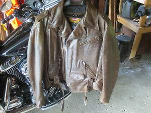 Harley Davidson Mens Brown Leather Jacket Shovelhead XXL USA Made!
