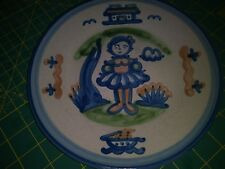 """RARE M.A.Hadley 8.5"""" Plate w/Young Girl in Pretty Dress-Boat/House/Trees- EUC"""