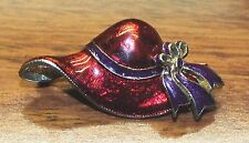 Red Enamel Floppy Hat with Purple Bow Small Collectible Pin / Brooch / Lapel!