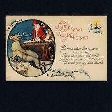 Weihnachten X-Mas SANTA WEIHNACHTSMANN Deer Sleigh Schlitten * Vintage 1920s PC
