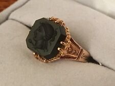 NOS Ladies 10k Rose Gold Intaglio Onyx Ring size 6