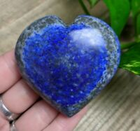 "2.3"" LAPIS LAZULI w PYRITE Puffy Heart H14 Crystal Reiki Charged 4oz"