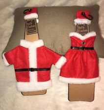 2 Set Champagne Wine Bottle Cover Santa Claus Coat Dress Hat Christmas Decor