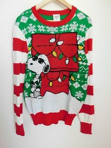 NWT Men's Peanuts Snoopy Ugly Christmas Sweater Small MSRP$60 New Free Shipping