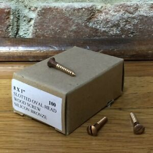 "#8 x 1"" Silicon Bronze Wood Screws, Oval Head ~ Qty 100"