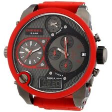 New Diesel DZ7279 Big Daddy Round Multi Dial Stainless Red Silicone Band Watch