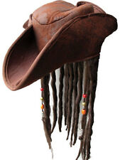 Caribbean Pirate Hat & Attached Wig & Beads Mens Fancy Dress Adult Accessory
