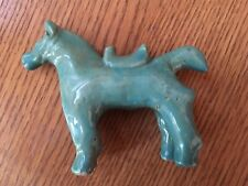 Middle East Pottery Figurine Aqua Horse early 1900s Handcrafted LaLein Potters