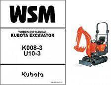 Kubota K008-3 / U10-3 Mini Excavator WSM Service Workshop Manual CD