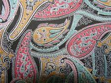 BLACK MULTI COLOR GENUINE SUEDE LEATHER IN PAISLEY PATTERN 12 X12