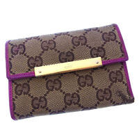 Gucci Wallet Purse Trifold GG Beige Purple Woman Authentic Used Y2460