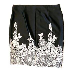 Roz & Ali Lace Pull On Stretch Skirt Back Slit Poly Spandex Plus Size 1X